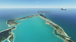 Aerial View of Wake Island in Microsoft Flight Simulator