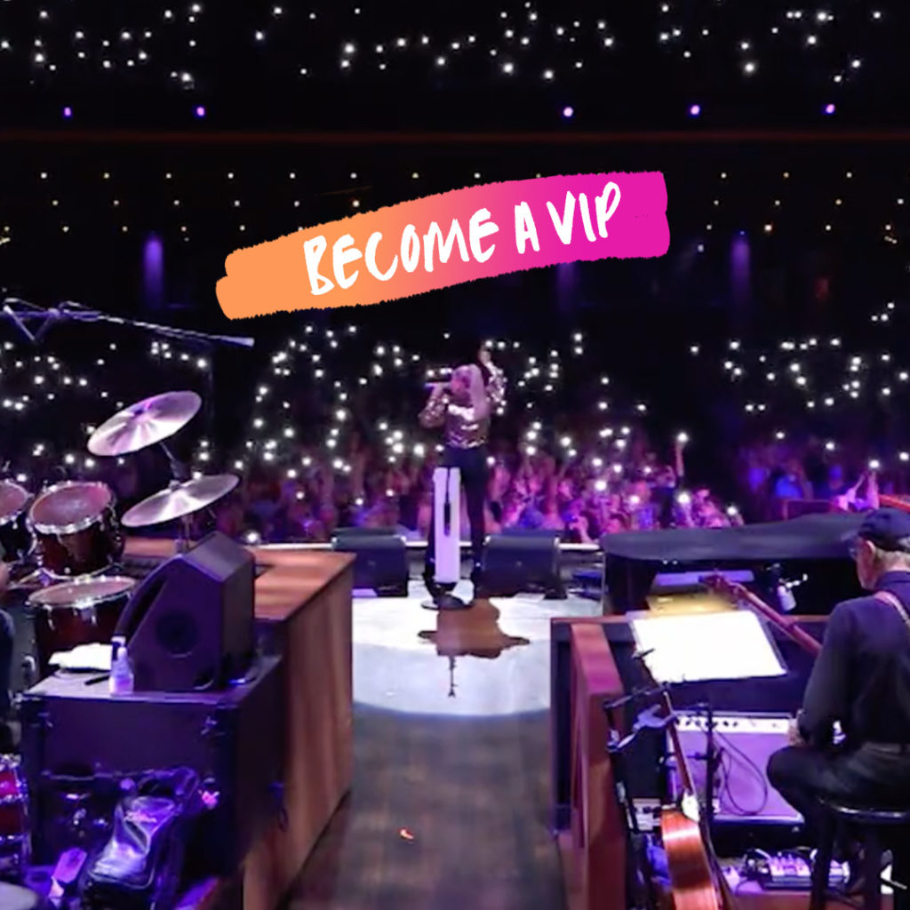 """Shot from stage of a concert with """"Become a VIP"""" overlaid on top"""